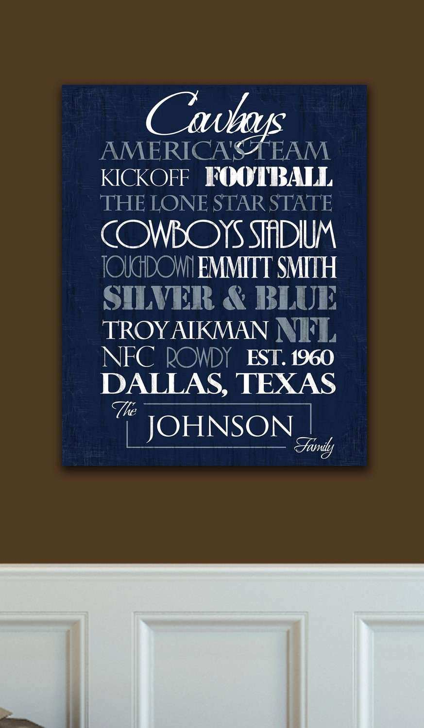 Dallas Cowboys Print or Canvas by SportingStandouts on Etsy
