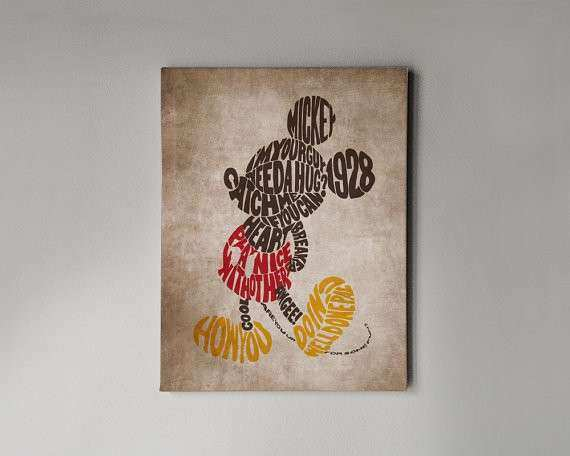 Wall art canvas with Disney Mickey Mouse in by