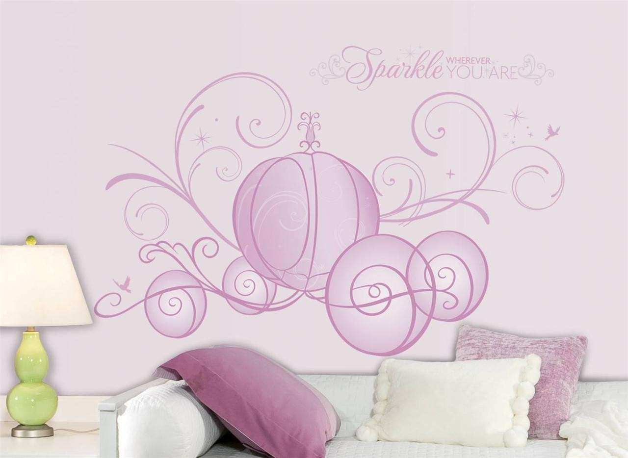 Disney Princess Wall Art Luxury New Giant Disney Princess Scroll Carriage Wall  Decals Girl