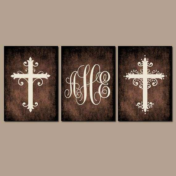 CROSS Wall Art Canvas or Prints Family Monogram Grunge