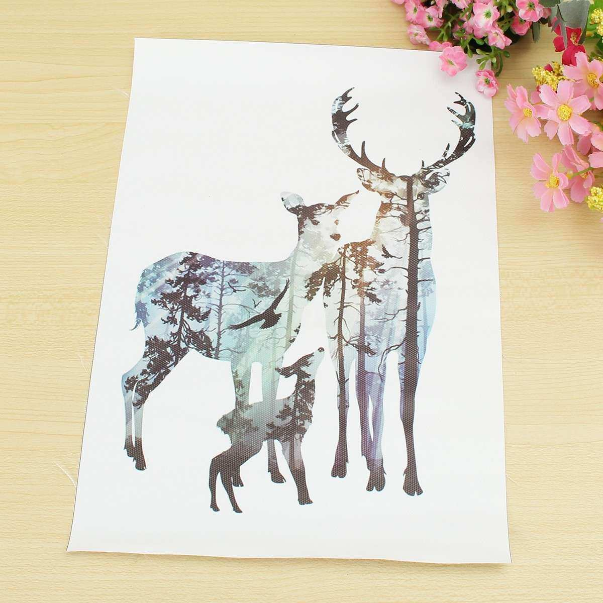 Vintage Deer Poster Animal Decor Family Canvas Art Print