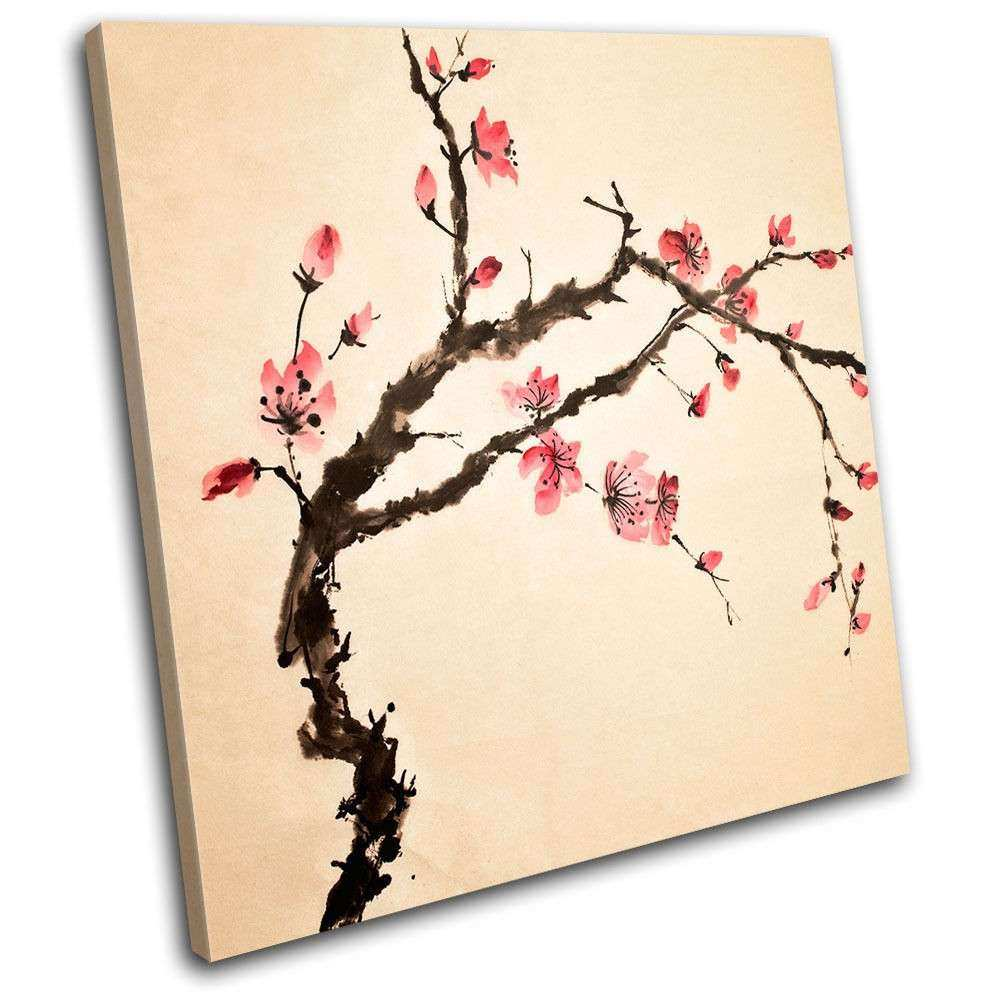 Cherry blossom Floral SINGLE CANVAS WALL ART Picture Print