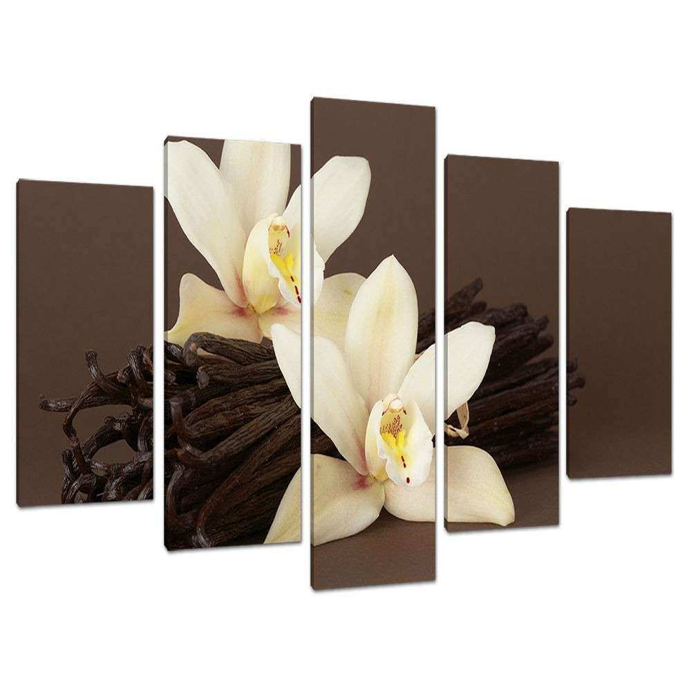 Set of 5 Piece Brown Cream Floral Canvas Wall Art