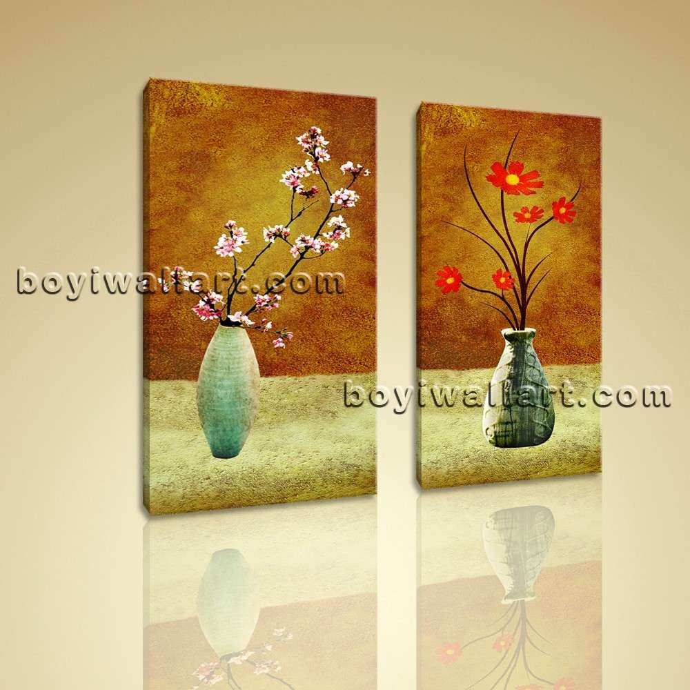 Framed Abstract Floral Giclee Prints on Canvas Wall