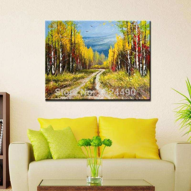 handmade modern forest path landscape oil painting on