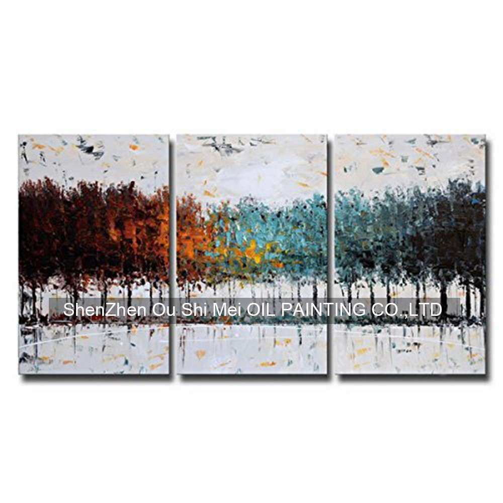 Hand Painted Contemporary Colorful Forest Abstract Oil