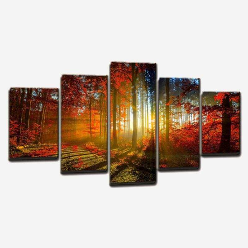 2018 Modern Unframed Canvas Art Forest Painting Landscape