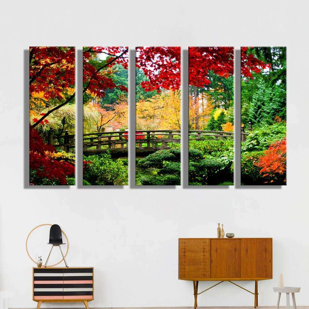 Oil Painting Canvas Forest Bridge Landscape Wall Art