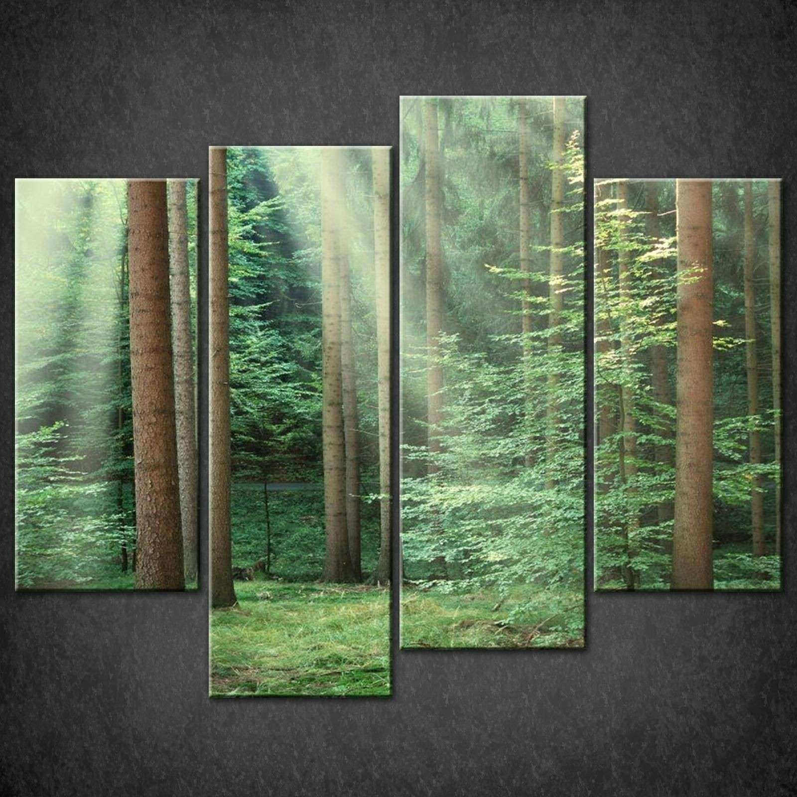 FOREST GREEN SPLIT CANVAS WALL ART PICTURES PRINTS LARGER