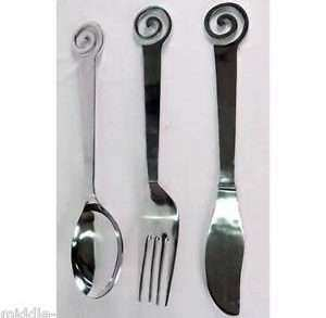 Fork Spoon Knife Wall Decor Fresh Giant Swirl Knife Spoon fork Wall Art Aluminium Metal