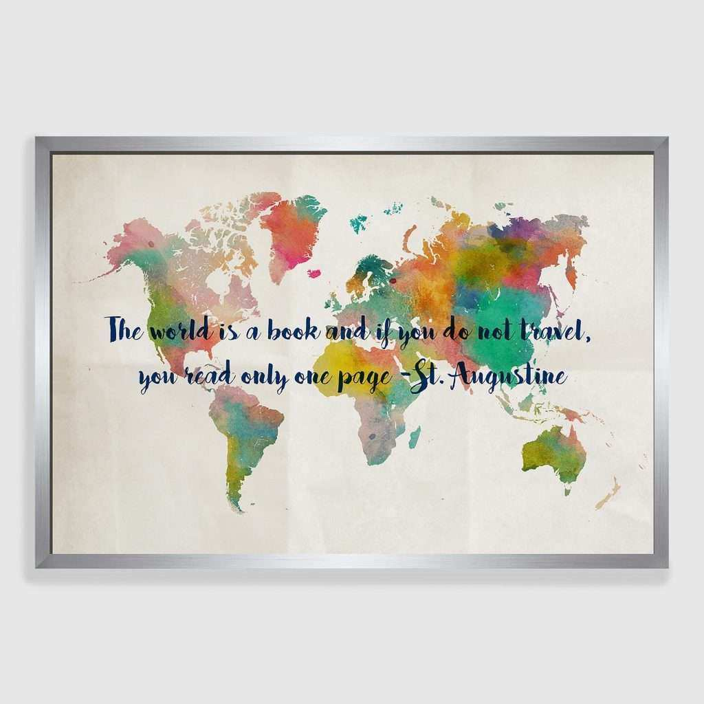 Framed Canvas Wall Art Beautiful Travel Map Framed Canvas Print