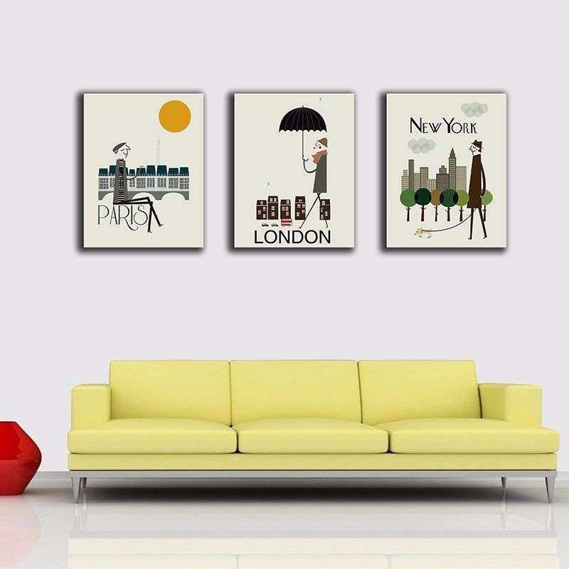 Framed Canvas Wall Art Fresh Paris London New York Stretched Canvas ...