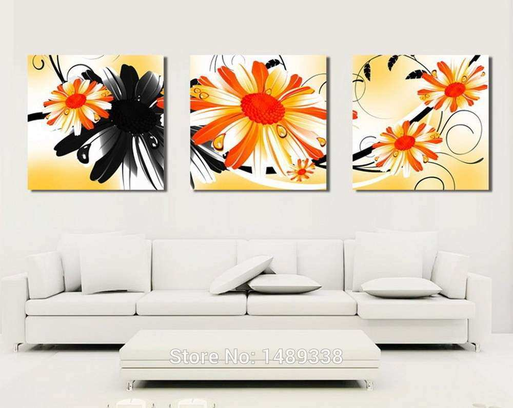 3 panel big flowers print paintings home art pictures
