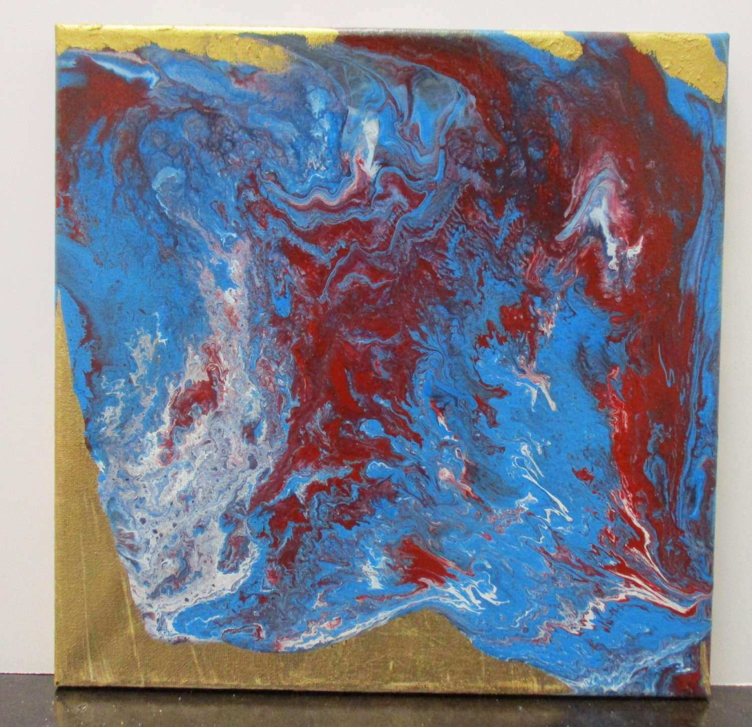Gold Leaf Painting Canvas Art Blue Wall Art Red by
