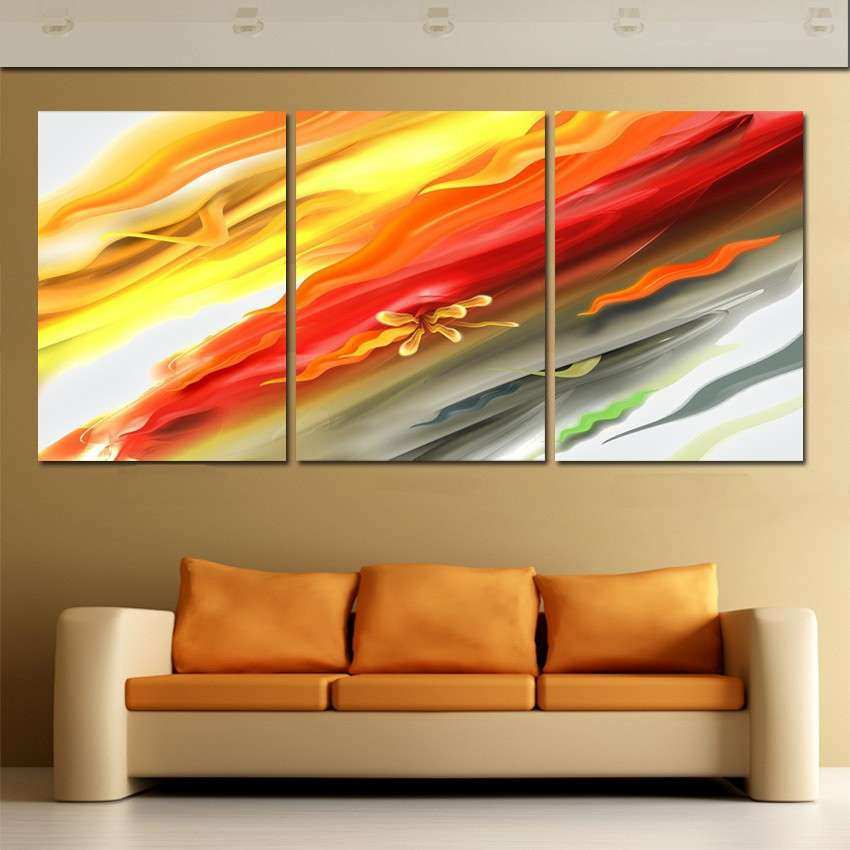 3 Panel Modern Decorative Painting Abstract Landscape