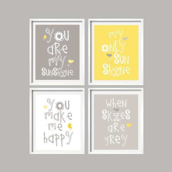 SALE Yellow and Grey Wall Art Nursery Decor Prints You Are