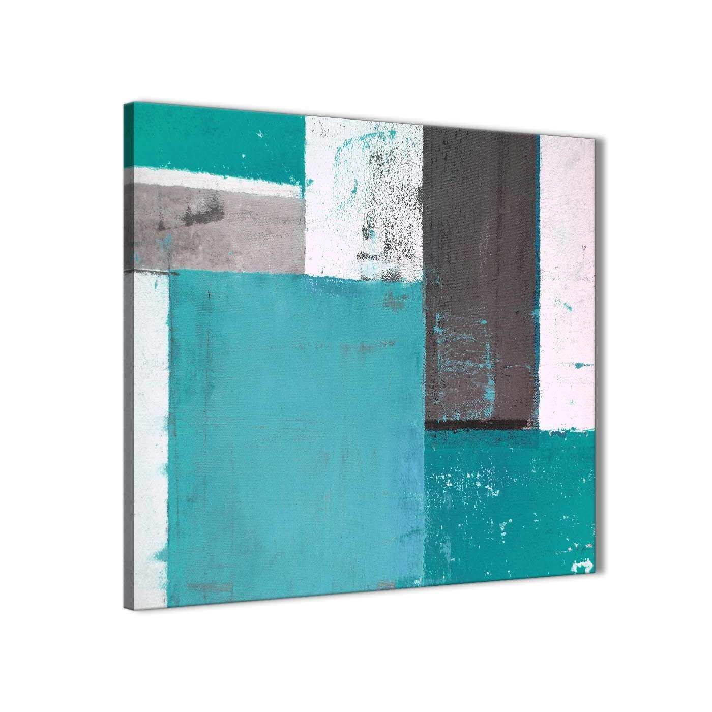 Teal Grey Abstract Painting Canvas Wall Art Modern 79cm