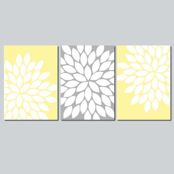 Yellow Gray Wall Art Bedroom Flower Canvas or