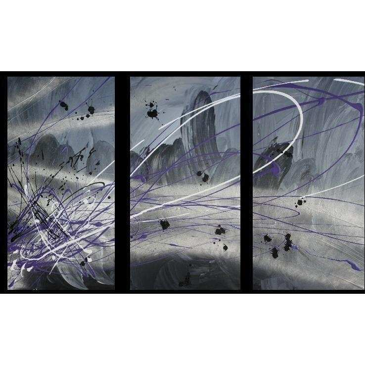 Abstract art canvas painting silver grey purple Wall art