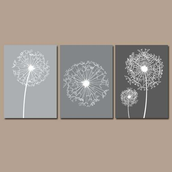 DANDELION Wall Art Gray Bedroom CANVAS or by