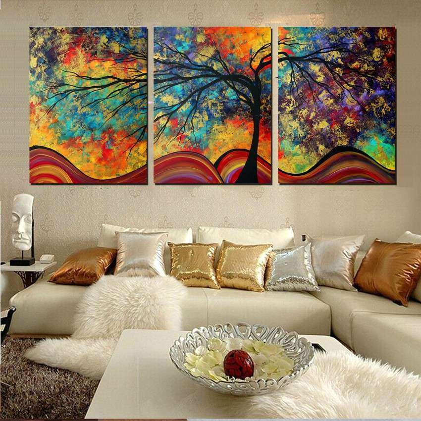 Wall Art Home Decor Abstract Tree Painting Colorful