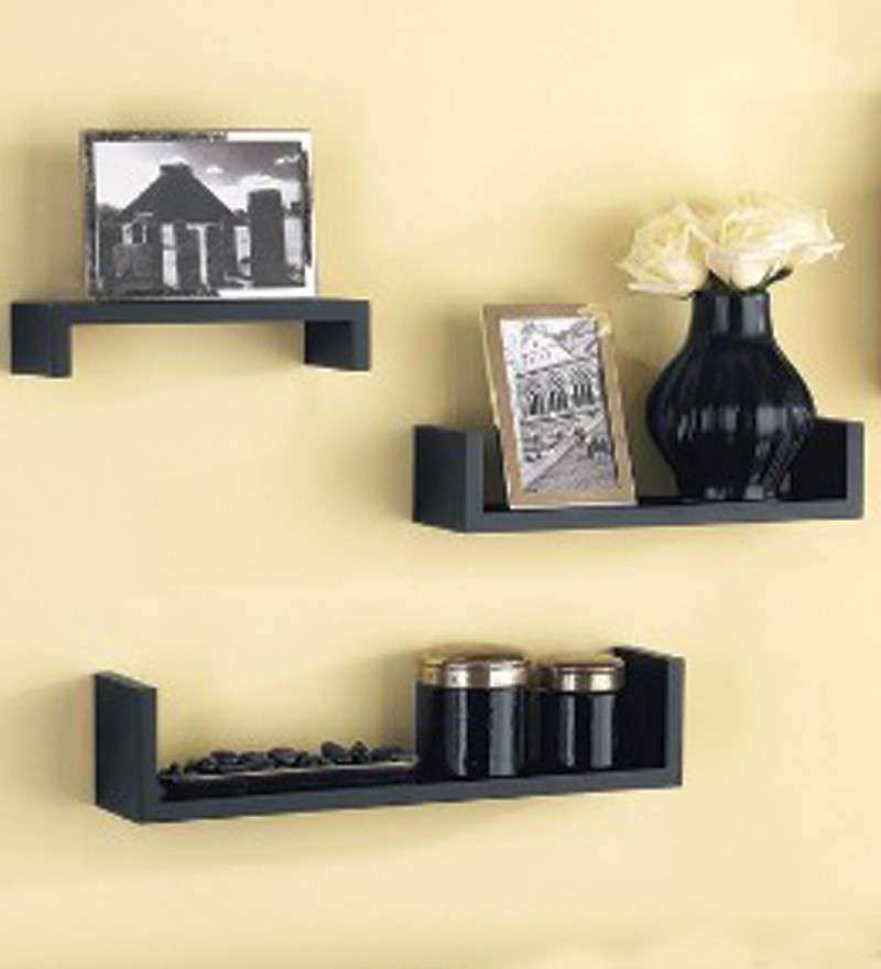 Home Interior Wall Decor Unique Set Of 3 Mango Wood Wall Shelves by ...