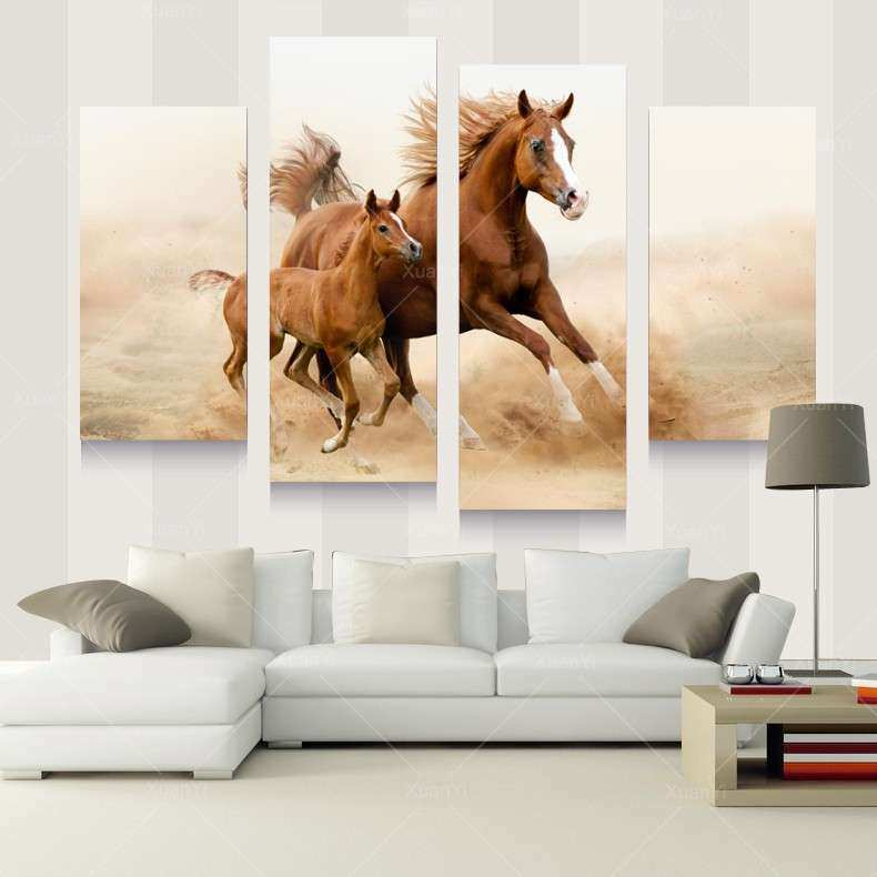 4 Panel Oil Horse Painting Canvas Horse Picture