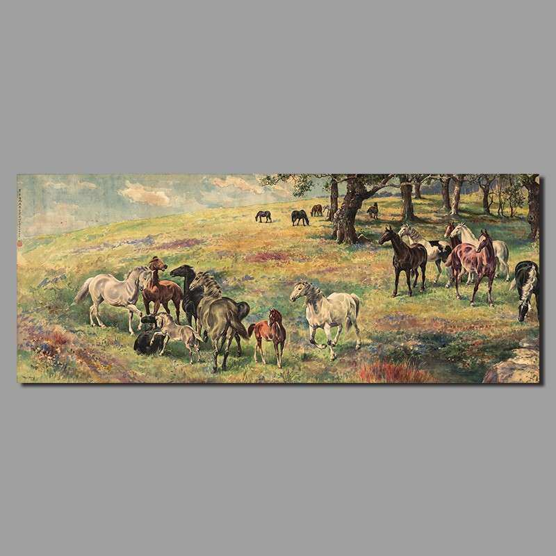 Retro Chinese Paintings Steeds Horse Decoration Canvas