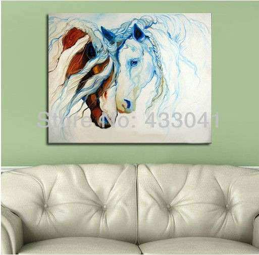 Handpainted Modern Abstract White Brown Love Couple Horse