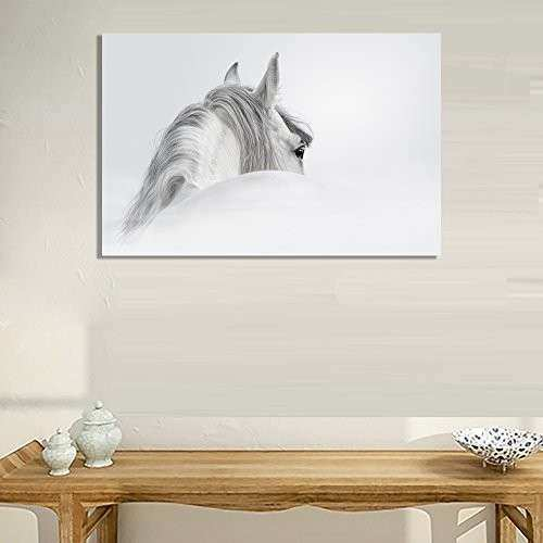 White Horse Painting Canvas Wall Art Picture Home