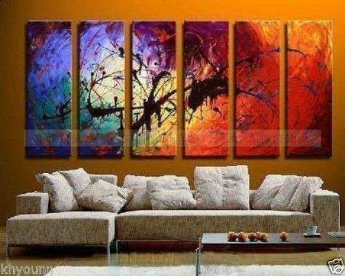 LARGE 6 piece Modern Abstract Asian Art Oil Painting Wall