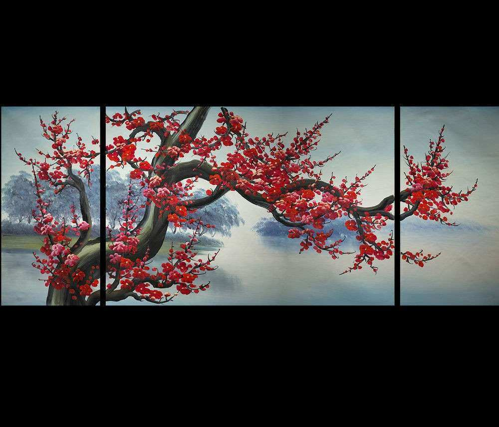 Abstract Painting Canvas Print Japanese Cherry