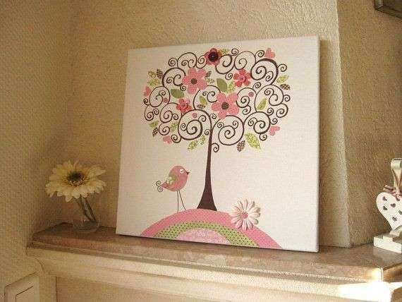 Unique Nursery Art Canvas Kids Room Painting nursery tree