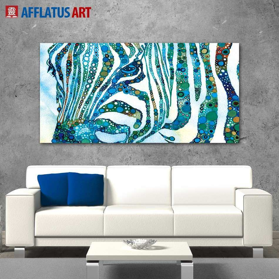 AFFLATUS Abstract Canvas Painting Nordic Watercolor Zebra