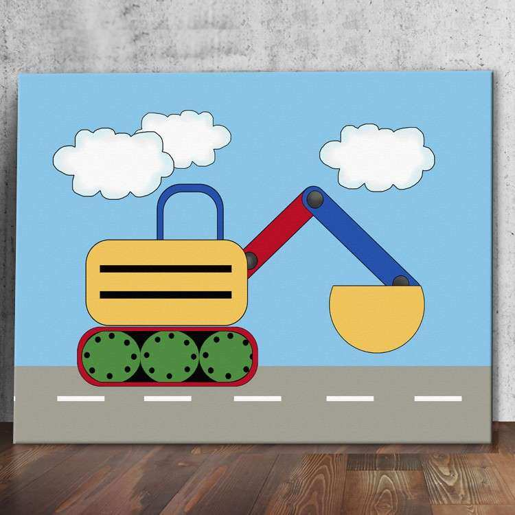 Under Construction Theme Kids Stretched Canvas Excavator
