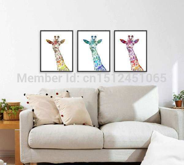 Modern Abstract watercolor Giraffe Art Print Set kids wall
