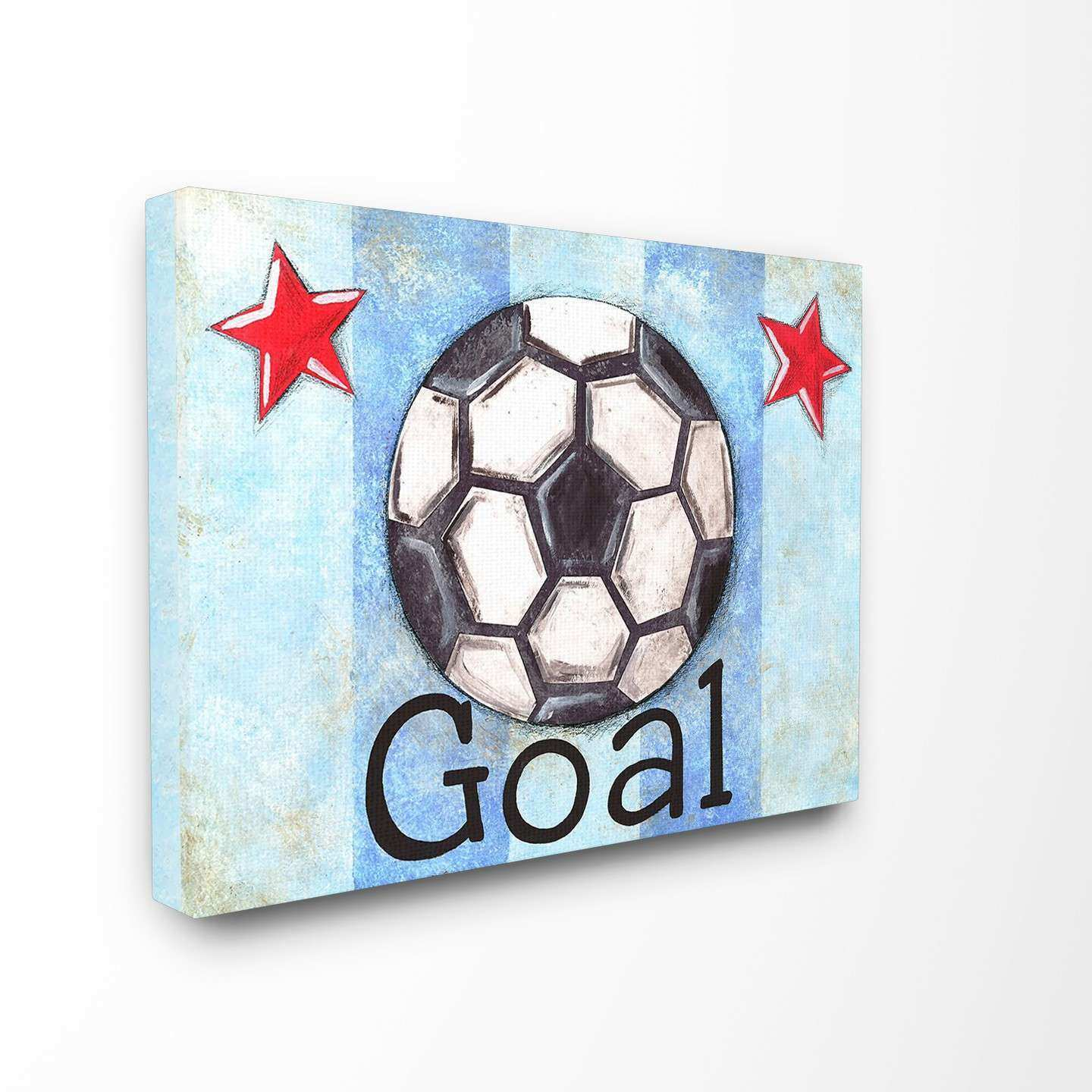 Stupell Industries The Kids Room Goal Stripe Star Canvas