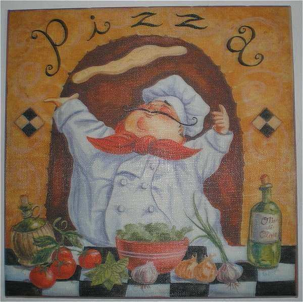 G allen fat chef pizza canvas wall art print home kitchen