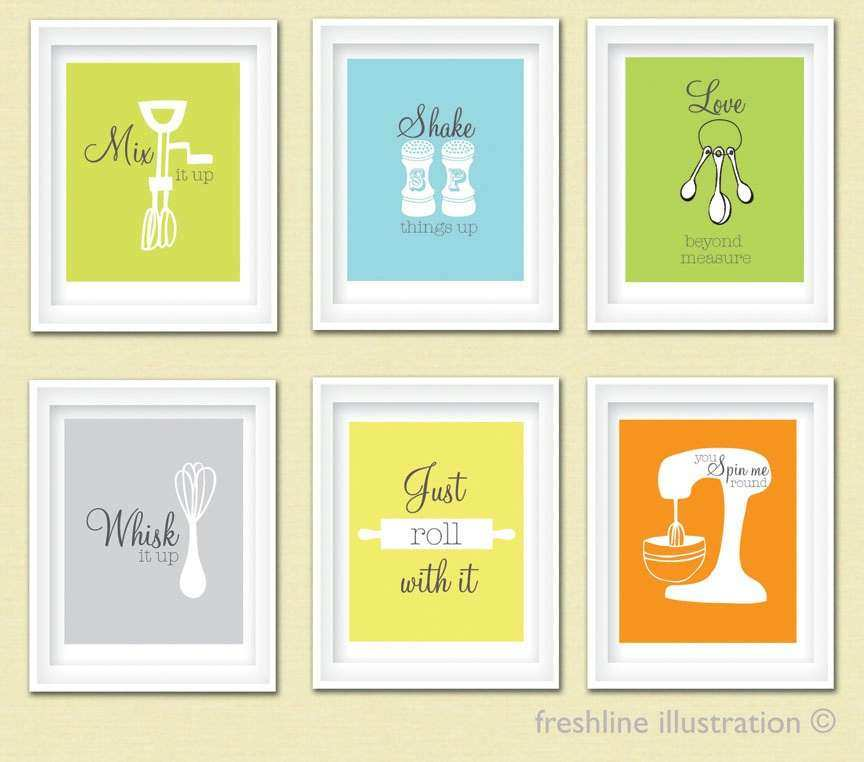 Kitchen Wall Art Funny Mix it Up Just Roll with It by