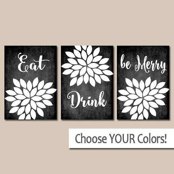 EAT DRINK Be Merry Wall Art Kitchen Artwork CANVAS or Prints