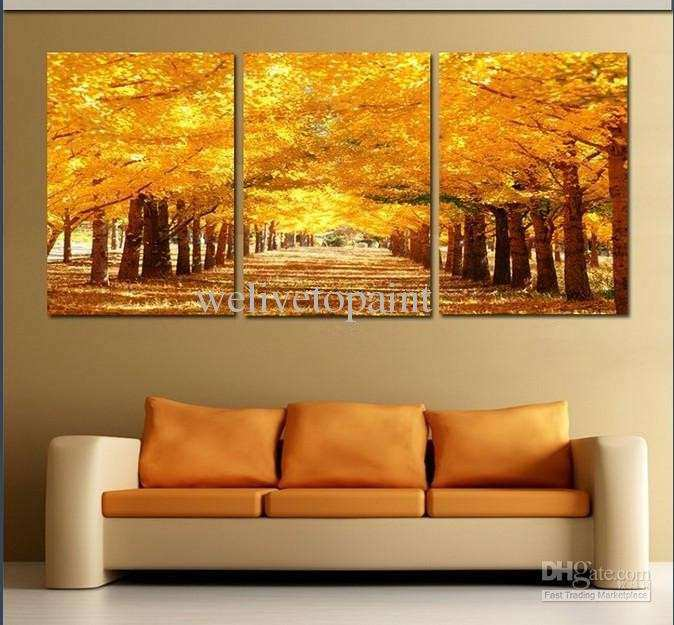 2017 Framed 3 Panel Golden Avenue Landscape Wall Art