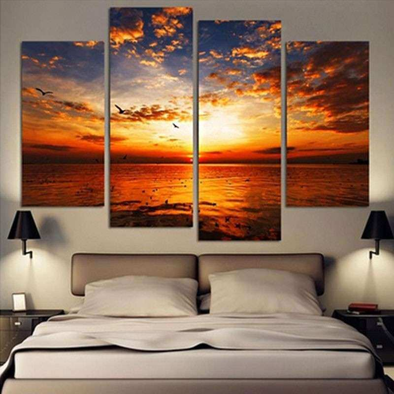 4Pcs lot Modern Landscape Canvas Wall Art Print Oil