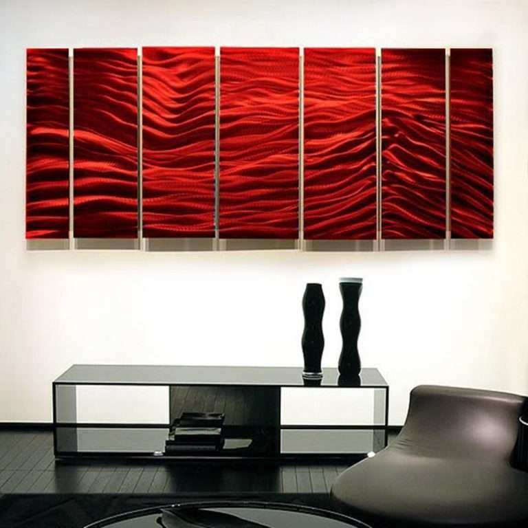 Large Contemporary Wall Art Best Of Red Wave Ii Xl Extra Modern Metal