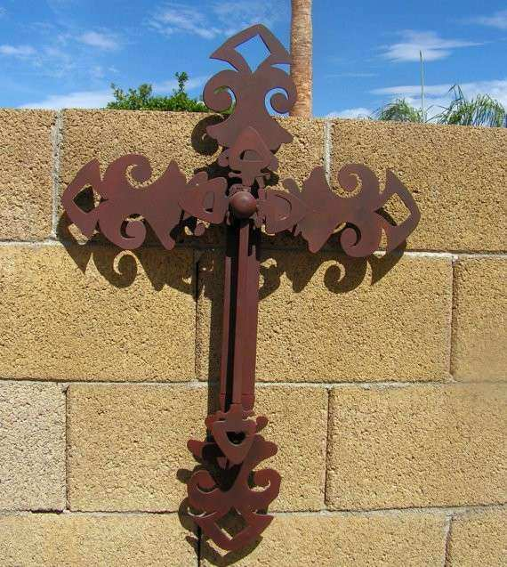Metal Rustic Cross Vintage Forged Cut Iron by