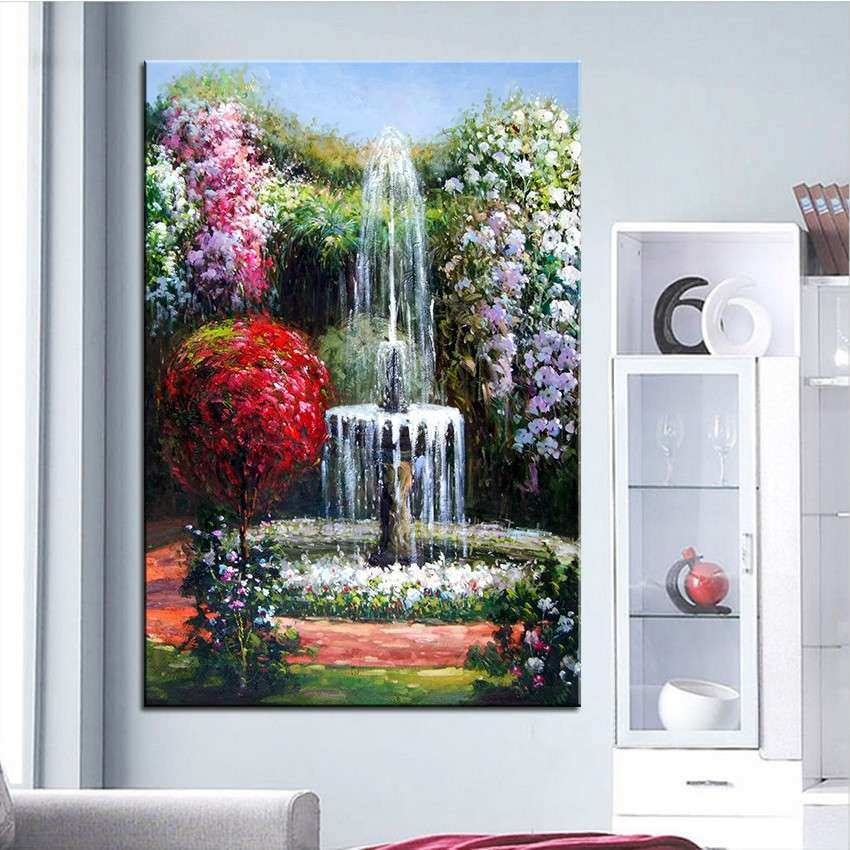 Large Wall Art Canvas Best Of Aliexpress Buy Extra Wall Painting Of Fountain