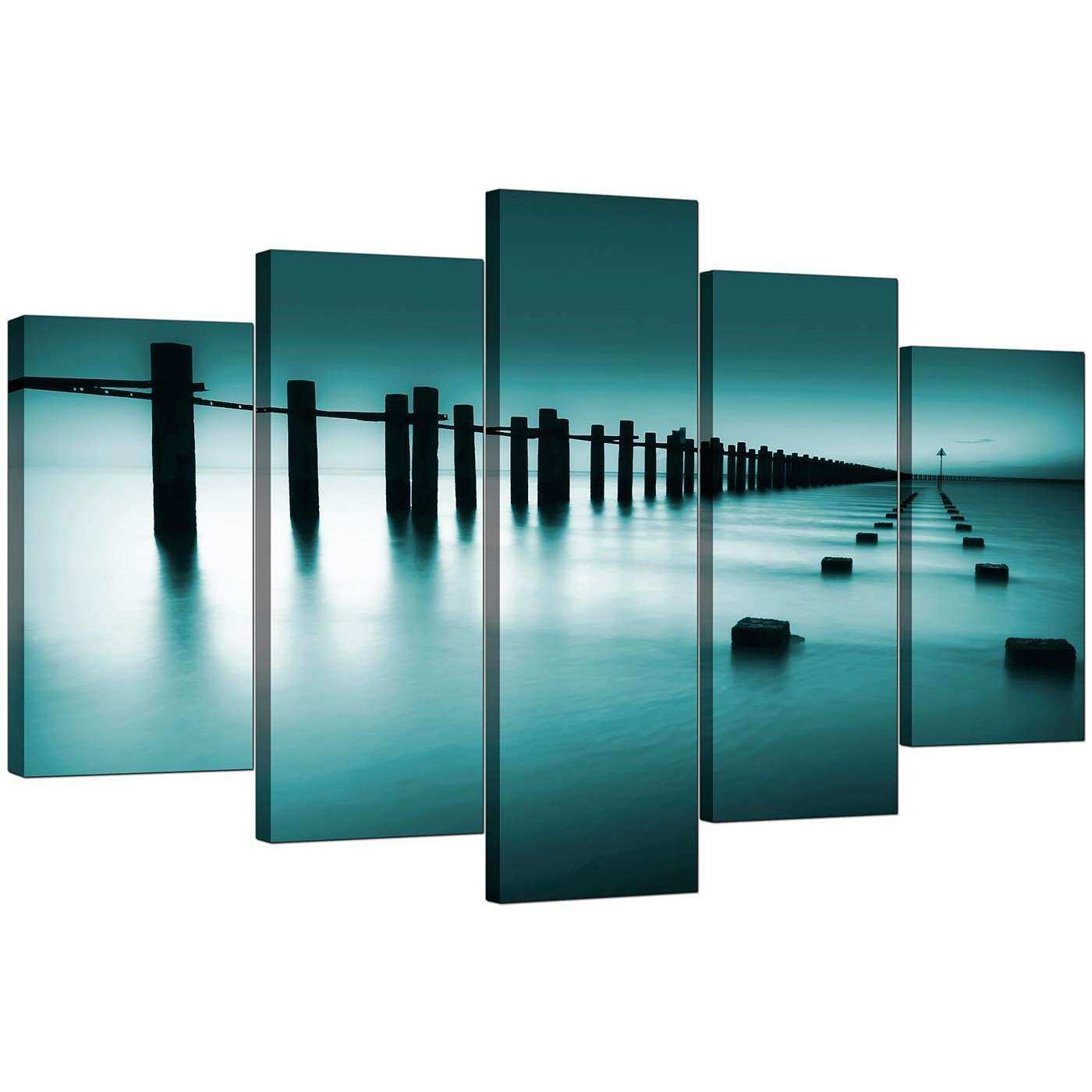 Extra Sea Canvas Wall Art Five Panel in Teal