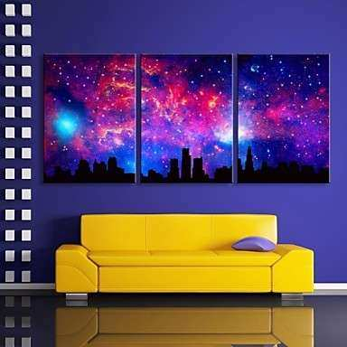 E HOME Stretched LED Canvas Print Art The Sky City Flash