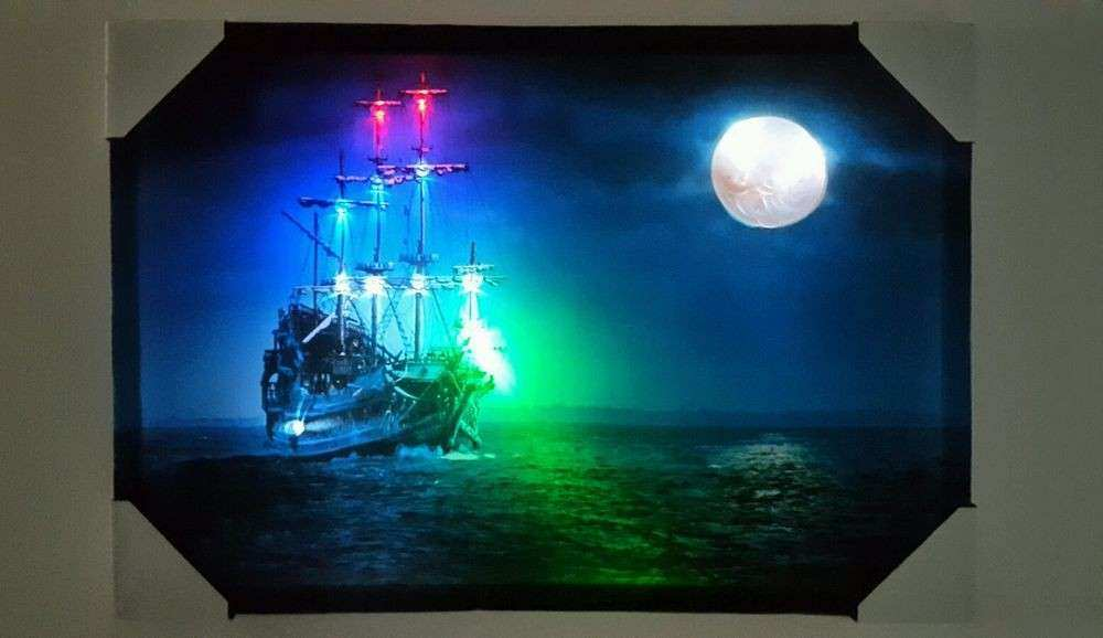 New LED lighted Blue Ship Moon View Picture frame Canvas