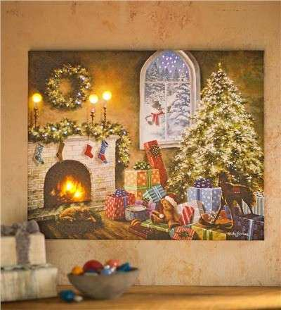 LED Lighted Holiday Canvas Wall Art in Framed Wall Art