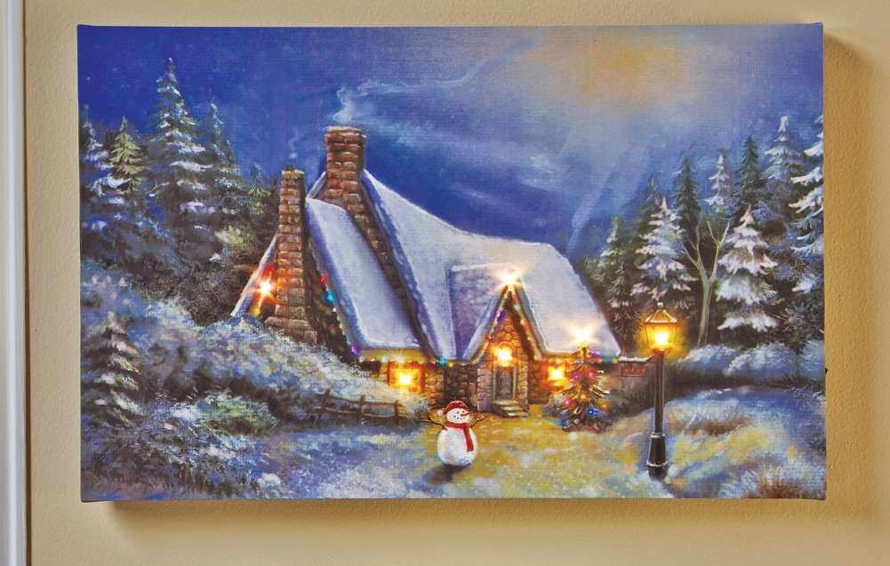 LED Lighted Winter Cottage Canvas Wall Art Christmas